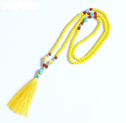 Long beaded neckLace designs online shopping - New design Yellow crystal beads handmade tassel pendant long necklace boho style knotted necklace women jewelry