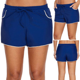 b9f33be2fa3 stretch swim shorts 2019 - Women Summer Plus Size Stretch Board Shorts  White Lace Trim Hem