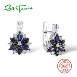 $enCountryForm.capitalKeyWord Australia - Santuzza Silver Stud Earrings For Women Blue Stone White Cubic Zirconia Ladies Pure 925 Sterling Silver Party Fashion Jewelry J190718