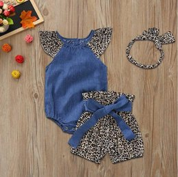 $enCountryForm.capitalKeyWord NZ - Infant Baby Girls Denim Jumpsuit Romper+ Leopard Print Shorts+Headbands Outfits set of newborn baby clothes Outfits Clothes
