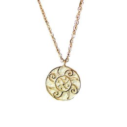 Factory Original Design 18K Yellow Solid Gold Sunflower Chinese style clavicle chain pendant artistic style necklace China Wholesale on Sale