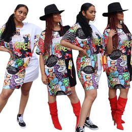 $enCountryForm.capitalKeyWord Australia - Contrast Color Irregular Pattern Letters Painted Women Dress O Neck Short Sleeve Summer Personality Trend Lady Shirt Dresses