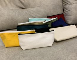 wholesale plain purses Australia - DHL 50pcs Tridimensional Mix color canvas blank plain zipper Pencil bags with lining stationery cases Coin Purses organizer bag