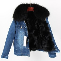 fur lined denim jacket UK - snow jackets black raccoon fur trim Cold resistant women black fox fur lining mini dark blue denim parkas