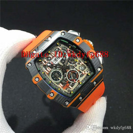 $enCountryForm.capitalKeyWord NZ - New Luxury 11-03 Watch Black & Orange Forged Carbon Case Skeleton Dial Date Swiss 7750 Automatic Chronograph Movement Rubber strap