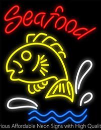 $enCountryForm.capitalKeyWord Australia - 19X15 Inches Seafood Fish Real Glass Neon Sign Beer Bar Pub Light Handmade Artwork GIFT Fast Shipping