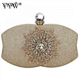 flower clutch bags NZ - Fashion Evening Bag Women'S 2chain Handbag Night Wedding Clutch With Flower Rhinestone Gold Sliver Shoulder Bags Bolsa Feminina