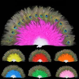 Favors Fans Free Shipping Australia - New peacock feather fans Carnival dance fans Party favors Peacock Hand Fans 9 colors available Free Shipping
