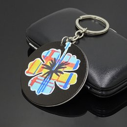 Leaves pendant online shopping - XDOPQQ wooden keychain series fashion personality painted leaves key ring bag pendant commemorative gift