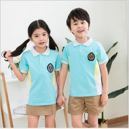 uniform polo UK - New summer suit pure cotton polo shirt short sleeve boys and girls' two piece set primary and secondary school uniform garden uniform direc
