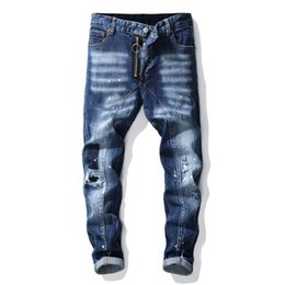 Wholesale jeans blue wash stretch man for sale – denim Unique Mens Rips Stretch Blue Jeans Fashion Designer Slim Fit Washed Motocycle Denim Pants Panelled Hip HOP Trousers