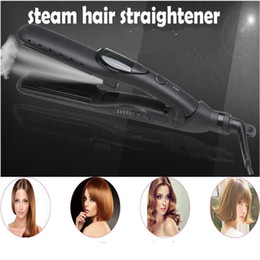 Ceramic Hair Straighter Australia - Professional Electric Flat Steam Hair Straightener Iron Ceramic Nano Steamer Care Hairstyling Straighter Crimple Wand Salon Comb
