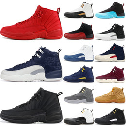 red lace cut out dress 2019 - 12 12s Gym red Michigan Bulls mens Basketball shoes International Flight Flu Game Wings Taxi men sports sneakers designe