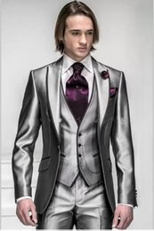 men grey shiny suit Australia - New Style One Button Shiny Silver Grey Groom Tuxedos Groomsmen Men's Wedding Suits Best man Suits (Jacket+Pants+Vest+Tie)009