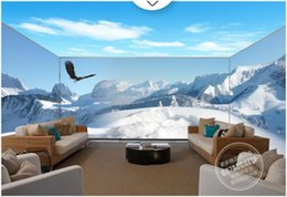 eagle decor UK - 3d room wallpaer custom mural photo snow mountain eagle sky beauty full house background home decor 3d wall murals wallpaper for walls 3 d