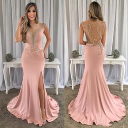 Prom Dresses Modest Neckline NZ - Dark Blush High Slit Evening Dress V Neckline Sleeveless Sparkly Crystals Beaded Modest Mermaid Formal Prom Dresses Long