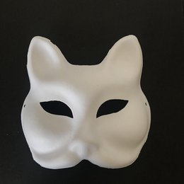 cartoon face paint mask NZ - DIY Hand Painting Masks Unpainted Blank Fox Face Masks Party Halloween Birthday Decoration