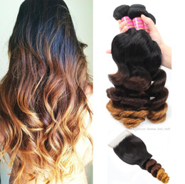 $enCountryForm.capitalKeyWord Australia - MEYA High Quality Ombre Human Hair Weave Bundles with Lace Closure Colored Brazilian Virgin Remy Human Hair Extensions 1B 4 27 Loose Wave
