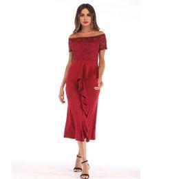 5af6d0324c88 Women's lace dress fashion ruffle stitching off shoulder word collar summer  dress women sexy dresses split vadim slim mid long vestidos