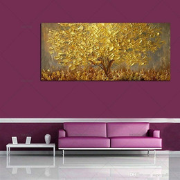golden tree painting Australia - A2x Hand Painted Knife Gold Tree Oil Painting On Canvas Large Palette Golden Yellow Paintings Modern Abstract Wall Art Pictures Home Decor