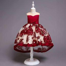 Chiffon Fluffy Dresses Australia - Flower girl wedding dress dress trailing dress skirt three-dimensional embroidery children princess fluffy skirt piano costume