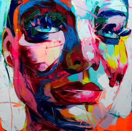 $enCountryForm.capitalKeyWord Australia - Hand painted Palette knife painting portrait Palette knife Francoise Nielly Face Abstract Oil painting Impasto figure on canvas Decor FN64