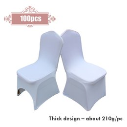 plain white chair covers UK - New 100pcs lot Wedding Party Decorative Universal Polyester Spandex Stretch Arched White Thick Chair Covers For Hotel Banquet