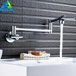 Faucet Kitchen Shower Australia - Wall Mounted Swivel Folding Cold Water Basin Faucet Single Handle Retractable Rotary Bathroom Kitchen Water Taps