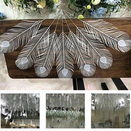 Peacock Lights Australia - White plastic peacock feathers for drop ceiling hanging Pennant bell garland Banner Bunting decoration DIY party wedding birthday favor