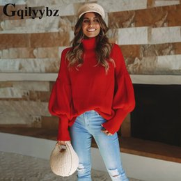 womens winter clothing plus size 2019 - Gqilyybz lantern sleeve pullover women turtleneck plus size streetwear womens clothing sueter mujer winter woman sweater