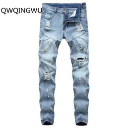 Hip Hop Stretch Pants NZ - Men Jeans Hole Ripped Stretch Destroyed Hip Hop Homme Fashion Design Men's Jean Slim For Male Pants Jeans
