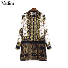 $enCountryForm.capitalKeyWord Australia - Vadim Floral Chains Print Pleated Shirt Dress Long Sleeve Turn Down Collar Vintage Totem Straight Mini Dress Vestidos Qa764 MX190727