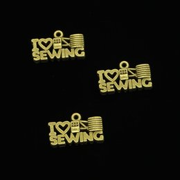 Sew Charm Wholesale Australia - 92pcs Antique Bronze Plated I love sewing Charms Pendants fit Making Bracelet Necklace Jewelry Findings Jewelry Diy Craft 20*12mm