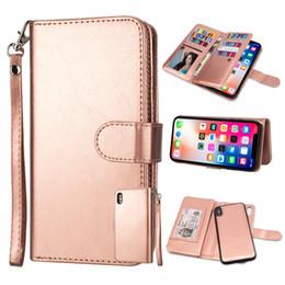 $enCountryForm.capitalKeyWord Australia - 9 Card Slot Wallet Leather Removable Detachable Flip 2 in 1 Case For iPhone XR XS Max X 8 7 6 5 Samung S6 S7 Edge S8 S9 S10 Plus S10E Note 9