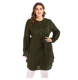 Wholesale button up mini dress resale online – Size Dresses With Sashes XL Lace up Loose Women Dresses Fashion Round Neck Long Sleeve Asymmetrical Plus