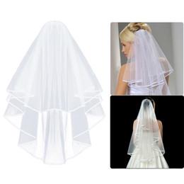 Simple voile de mariage en tulle deux couches avec peigne blanc voile de mariée en ivoire pour mariée pour mariage accessoires de mariage en Solde