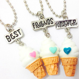 free best friend necklaces 2019 - 3 Pcs Set Best Friends BFF Resin ice-cream Pendant Bead Chain necklace,3 Colors Lead Nickel Cadmium Free Kids Jewelry ch