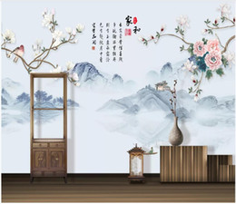 Houses wallpapers online shopping - WDBH d photo wallpaper custom mural Chinese ink painting peony flower home decor living Room d wall murals wallpaper for walls d