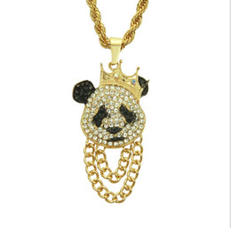 wholesale hip hop jewelry pendants Australia - New European and American fashion trend diamond personality Cute Panda Pendant Necklace men hip-hop rap jewelry