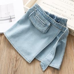 19bbdab811 Niños falda de jean niñas con cordones cinturón denim princesa falda niños  estéreo solo bolsillo falda vaquero 2019 verano nuevos niños ropa F5254