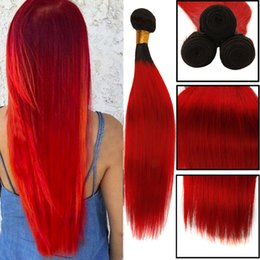 $enCountryForm.capitalKeyWord Australia - Peruvian Straight Hair Weave Ombre Human Hair Weft Two Tone Color 100 Peruvian Hair Bundles 1B 30 1B Red Human Weave Bundles