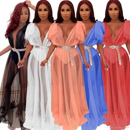 $enCountryForm.capitalKeyWord Australia - Summer Women Mesh Transparent Deep V-neck High Waist Maxi Dress Sexy Night Club Party Flare Sleeve Long Dresses Vestidos