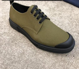 Spring Fall Canvas Shoes NZ - high quality 2019 Designer Shoes Spring fall Luxury Fashion Army Green black canvas Breathable shoes mens Rubber cap toe lace up Sneakers