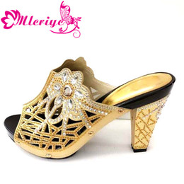 gold color match NZ - Shining gold color Italian Shoes Without Matching Bag African Women Shoes Possible with Bag Set For Party Summer Sandal