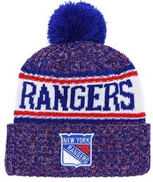 ba1a68827 NEW Men's New York Rangers Knitted Cuffed Beanie Hats Striped Sideline Wool  Warm Hockey Team Beanie Cap Men Women Bonnet Beanies Skull