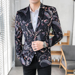 casual male wedding suits 2019 - Casual Mens Blazer Jacket Stage Vintage floral Jacket Coat Male Slim fit Suit Flower Wedding Suits For Men New cheap cas