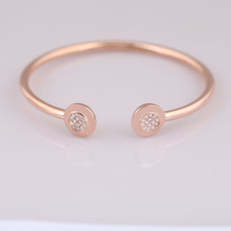bezel setting diy Canada - 925 Sterling Silver Rose Gold Letter Signature With Crystal Open Bracelet Fit Women Bead Charm DIY Jewelry