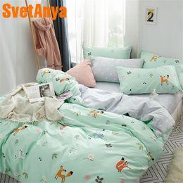 Pure Linen Pillowcases Australia - Svetanya Cartoon Fox Linens pure Cotton (sheet pillowcases Duvet cover) Double Full Queen King size