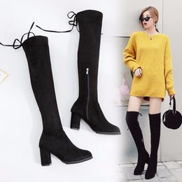$enCountryForm.capitalKeyWord Australia - Boots Women Shoes Winter Women High Heel Over The Knee Pointed Toe Long Flock Fashion Snow Boots Female Autumn Elastic Shoes