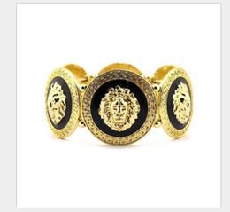Amethyst Tennis Bracelet Silver Australia - Handwear High Quality Alloy Painting Oil Lion Head Bracelet Jewelry